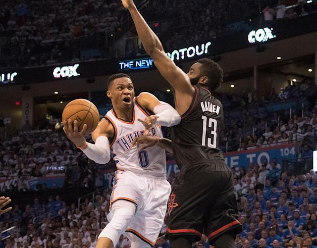 """A more controlled <a class=""""link rapid-noclick-resp"""" href=""""/nba/players/4390/"""" data-ylk=""""slk:Russell Westbrook"""">Russell Westbrook</a> got the better of James Harden's Rockets in Game 3. (Getty Images)"""
