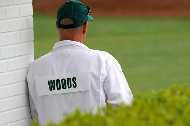 U.S. golfer Tiger Woods' caddie Joe La Clava waits near the club house during the final day of practice for the 2018 Masters golf tournament at Augusta National Golf Club in Augusta, Georgia, U.S. April 4, 2018. REUTERS/Jonathan Ernst TPX IMAGES OF THE DAY