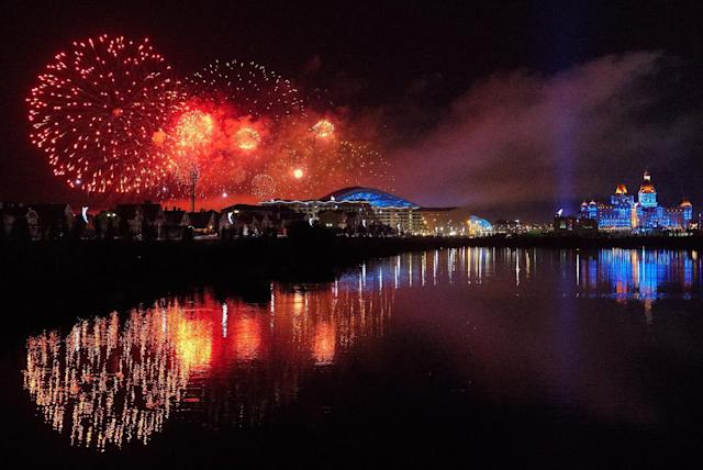 Fireworks burst over Olympic Park at the conclusion of the 2014 Winter Olympics, Sunday, Feb. 23, 2014, in Sochi, Russia. (AP Photo/J. David Ake)