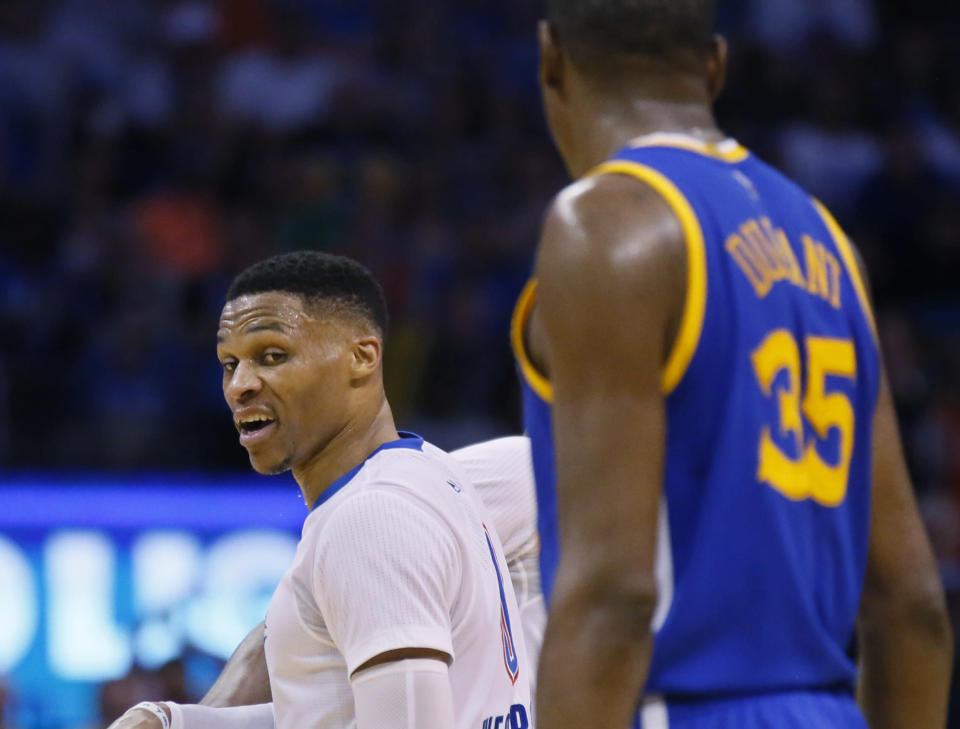 """Exhibit No. 836 why this isn't """"just a regular game"""" for Russell Westbrook and Kevin Durant. (AP)"""