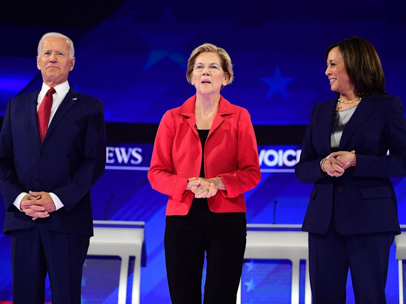 Democratic presidential hopefuls (L-R) Joe Biden, Elizabeth Warren and Kamala Harris: AFP via Getty Images