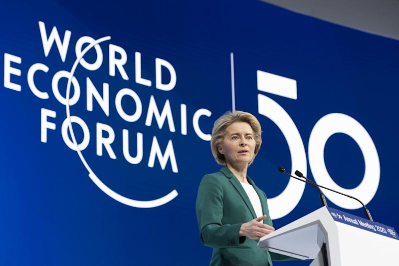 European Commission President Ursula von der Leyen speaks at Davos: EPA
