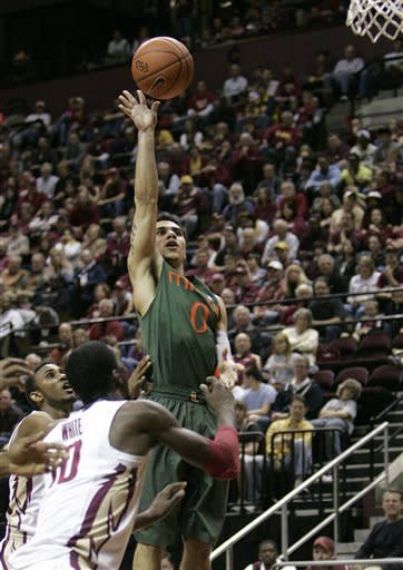Miami's Shane Larkin shoots a floater over the defense of Florida State's Okaro White in the second half of an NCAA college basketball game on Saturday, Feb. 11, 2012 in Tallahassee, Fla.(AP Photo/Steve Cannon)