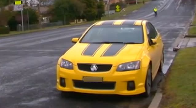 The man allegedly failed to pull over in his yellow Holden Commodore, before speeding away from police. Photo: 7 News