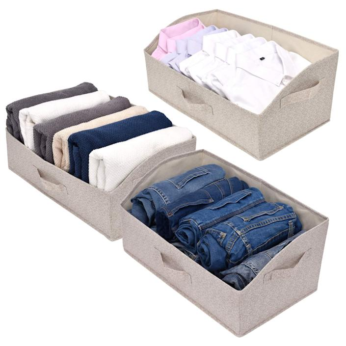 """<h2>Buy Storage Bins That Are Also Easy To Store</h2><br>These sturdy bins offer a home for items like sweatshirts and workout gear that are taking up too much room in your drawers or on your shelves. Due to its open-top design, this kind of storage unit still allows for easy access to those bulkier items whenever you need them. Plus, the bins are collapsible and can easily be put away when not in use. <br><br><strong>GRANNY SAYS</strong> 3-Pack Trapezoid Closet Baskets, $, available at <a href=""""https://amzn.to/34FHN1J"""" rel=""""nofollow noopener"""" target=""""_blank"""" data-ylk=""""slk:Amazon"""" class=""""link rapid-noclick-resp"""">Amazon</a>"""