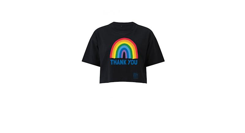 Rainbow Thank You NHS Women's Black Rainbow Cropped LooseFit T-Shirt