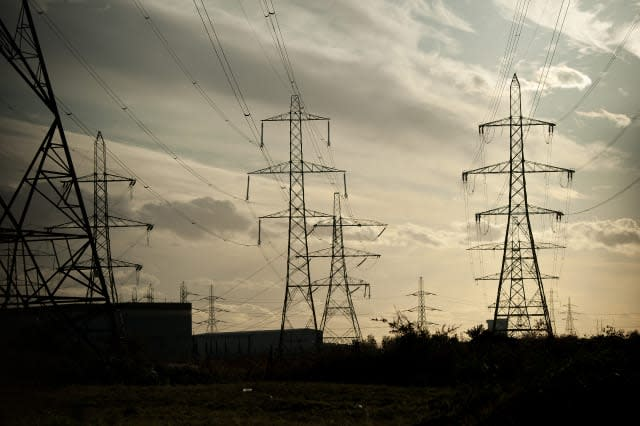 Electricity pylons are pictured near Bar