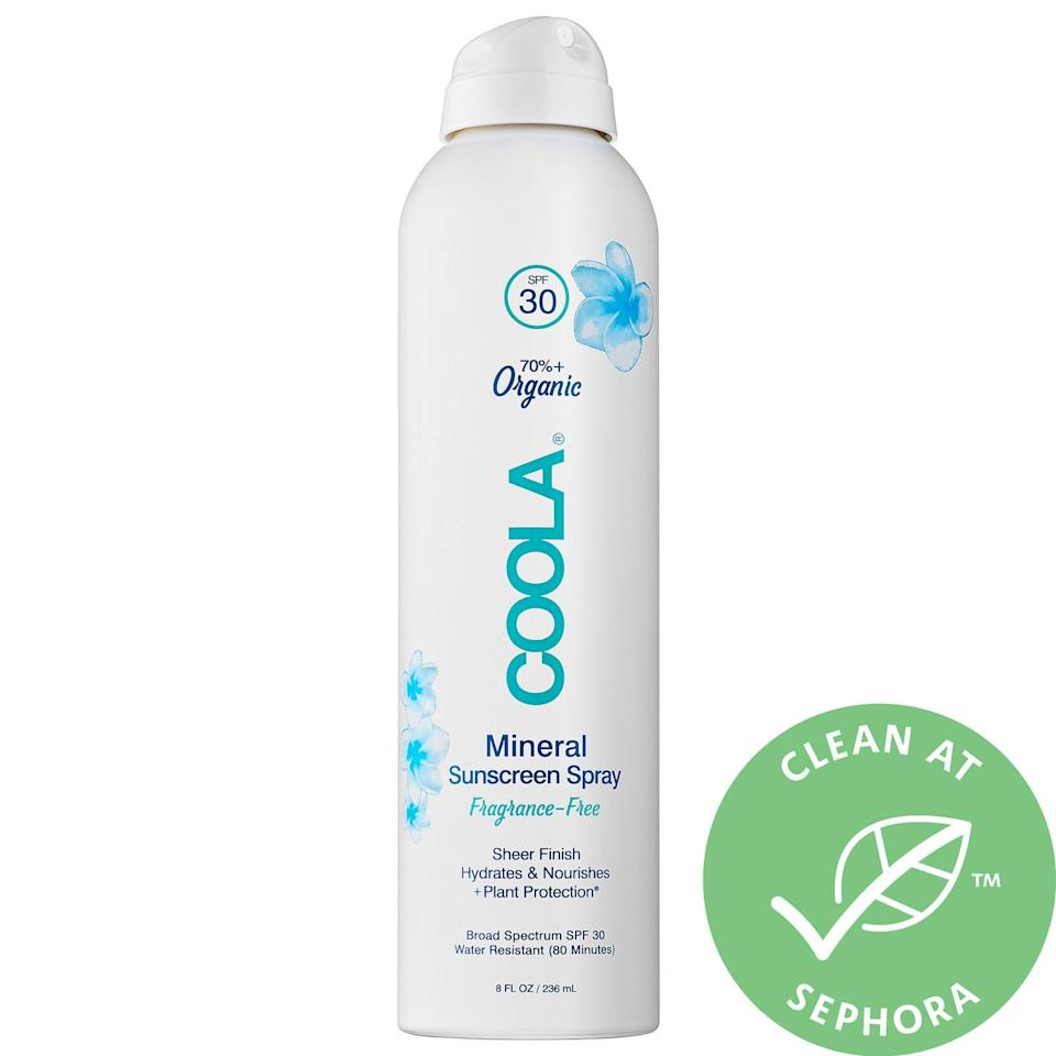 """<p><strong>COOLA</strong></p><p>sephora.com</p><p><strong>$42.00</strong></p><p><a href=""""https://go.redirectingat.com?id=74968X1596630&url=https%3A%2F%2Fwww.sephora.com%2Fproduct%2Fmineral-sunscreen-spray-spf-30-P442272&sref=http%3A%2F%2Fwww.townandcountrymag.com%2Fstyle%2Fbeauty-products%2Fg27467618%2Fbest-natural-organic-sunscreen%2F"""" rel=""""nofollow noopener"""" target=""""_blank"""" data-ylk=""""slk:Shop Now"""" class=""""link rapid-noclick-resp"""">Shop Now</a></p><p>COOLA is an organic sunblock favorite—and for good reason. The brand's latest, a lightweight, 100% mineral sunscreen sprays on white, but dries to a sheer, dry touch. In other words, it's great for all skin types and skin tones. They've taken care to ensure they have fragrance-free options too. And, as is the standard for COOLA, their proprietary formula is oxybenzone free, which helps protect coral reefs from related environmental damage. </p>"""