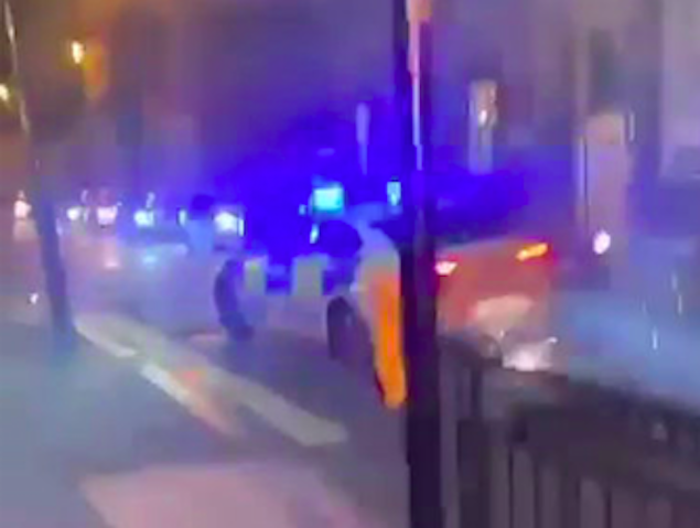 The police car came under attack from fireworks. (SWNS)
