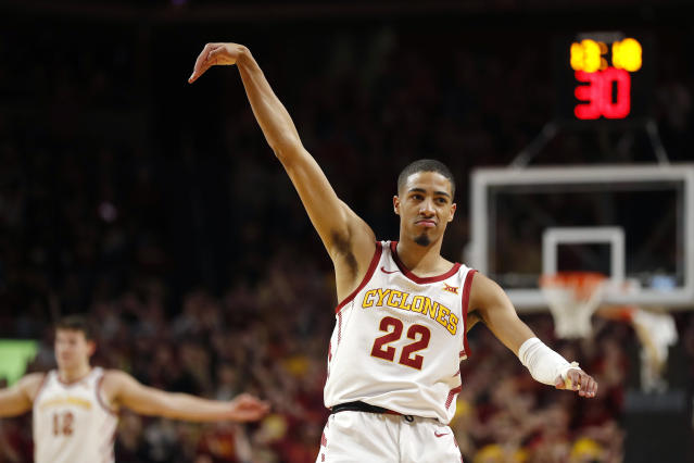 Iowa State guard Tyrese Haliburton reacts after making a 3-point basket during the first half of the team's NCAA college basketball game against Kansas State on Saturday, Feb. 8, 2020, in Ames, Iowa. (AP Photo/Matthew Putney)