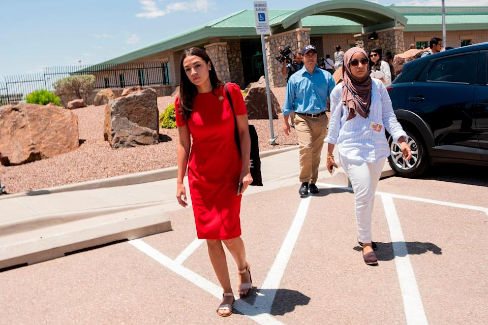 Rep. Alexandria Ocasio-Cortez (D-N.Y.) attends with 14 members of the Congressional Hispanic Caucus a tour to Border Patrol facilities and migrant detention centers. (Photo: LUKE MONTAVON via Getty Images)
