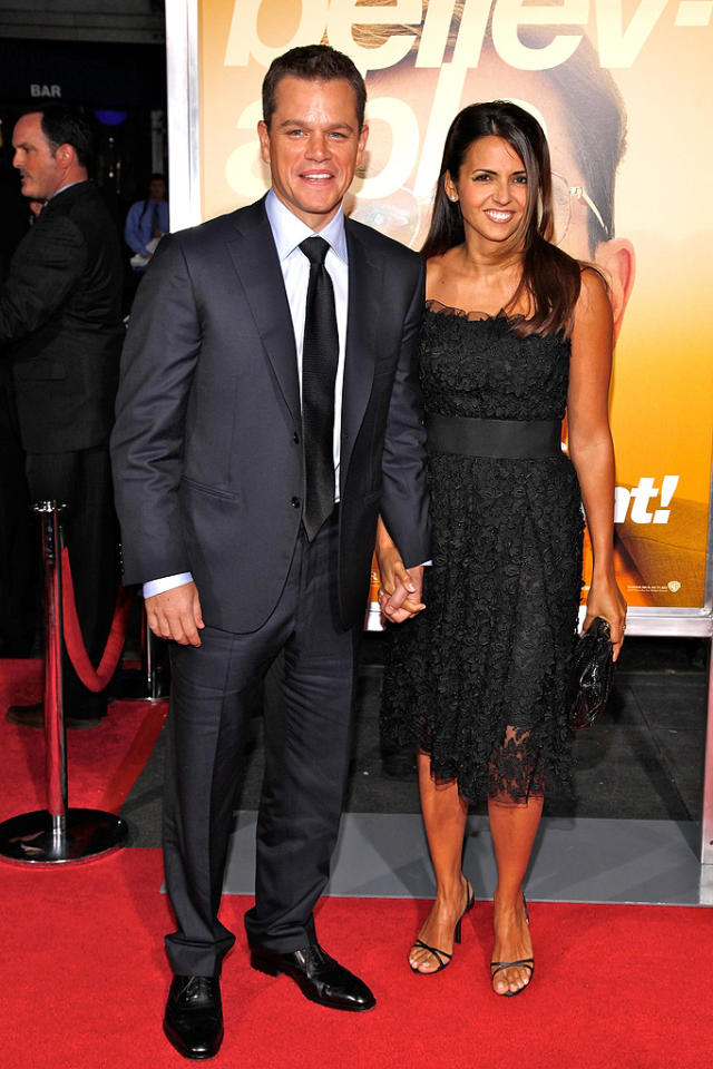 "<a href=""http://movies.yahoo.com/movie/contributor/1800020155"">Matt Damon</a> and wife Luciana Barroso at the New York City premiere of <a href=""http://movies.yahoo.com/movie/1810035860/info"">The Informant!</a> - 09/15/2009"