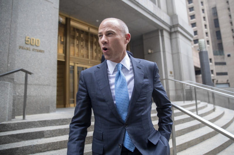 FILE - In this Oct 8, 2019, file photo, attorney Michael Avenatti leaves Manhattan Federal court in New York. Avenatti has a hearing Wednesday, Nov. 13 in his effort to again take one of his law firms into bankruptcy proceedings. (AP Photo/Mary Altaffer, File)