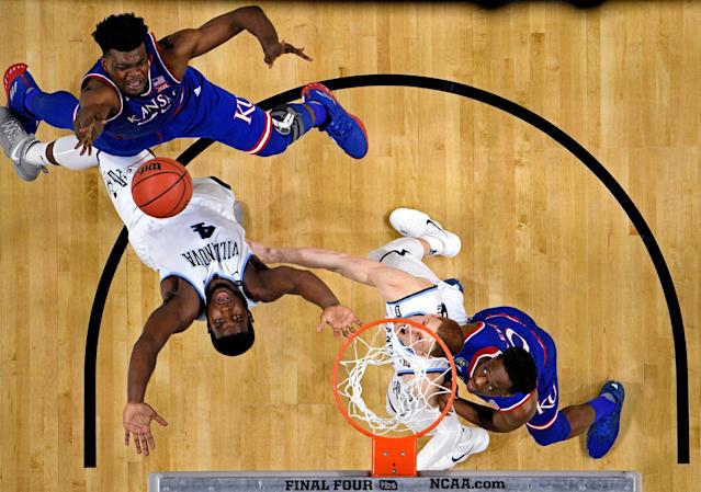 Mar 31, 2018; San Antonio, TX, United States; Kansas Jayhawks center Udoka Azubuike (35) shoots the ball against Villanova Wildcats forward Eric Paschall (4) during the second half in the semifinals of the 2018 men's Final Four at Alamodome. Mandatory Credit: Bob Donnan-USA TODAY Sports TPX IMAGES OF THE DAY