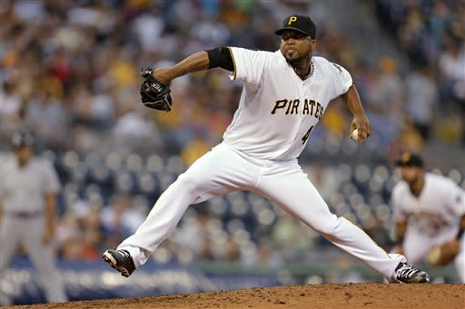 Pittsburgh Pirates starting pitcher Francisco Liriano delivers in the fourth inning of a baseball game against the Milwaukee Brewers in Pittsburgh, Thursday, May 16, 2013. (AP Photo/Gene J. Puskar)