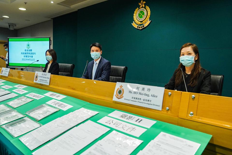 Grace Tang, Mark Woo and Alice Ho, from the Customs and Excise Department, hold a press conference on this month's arrests. Photo: Sam Tsang