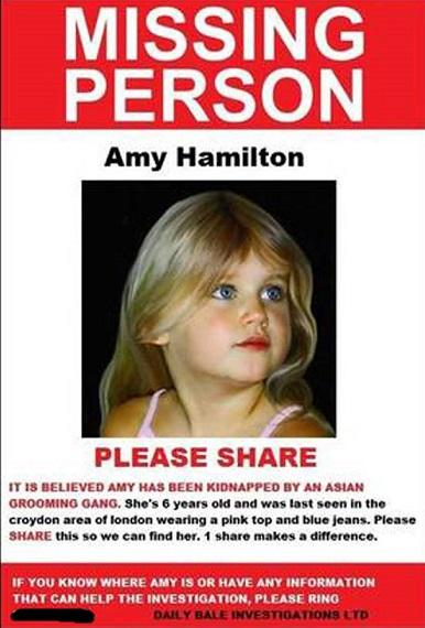 Missing 'Amy Hamilton': Asian Grooming Gang Hoax by Far-Right Bale Blog