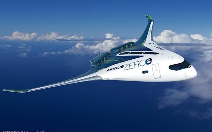A concept 'blended wing' hydrogen aircraft that could seat up to 200 passengers - Getty