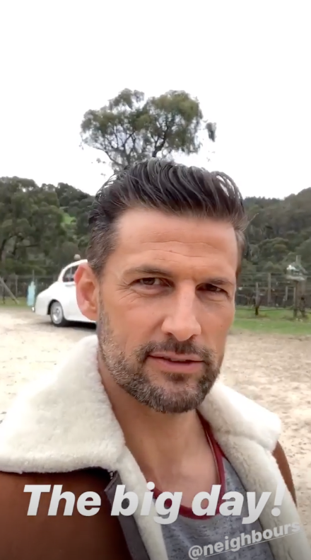 A photo of Tim Robards' wearing a shearling jacket on set of his TV wedding on Neighbours.