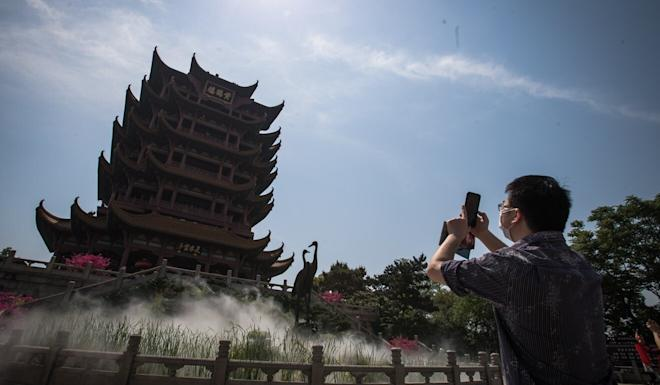 The Yellow Crane Tower in Wuhan was set to welcome 25,000 visitors on Thursday. Photo: Xinhua