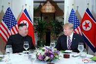 North Korea's leader Kim Jong Un and U.S. President Donald Trump meet during the second U.S.-North Korea summit in Hanoi, Vietnam, in this photo released on February 28, 2019 by North Korea's Korean Central News Agency (KCNA). KCNA via REUTERS