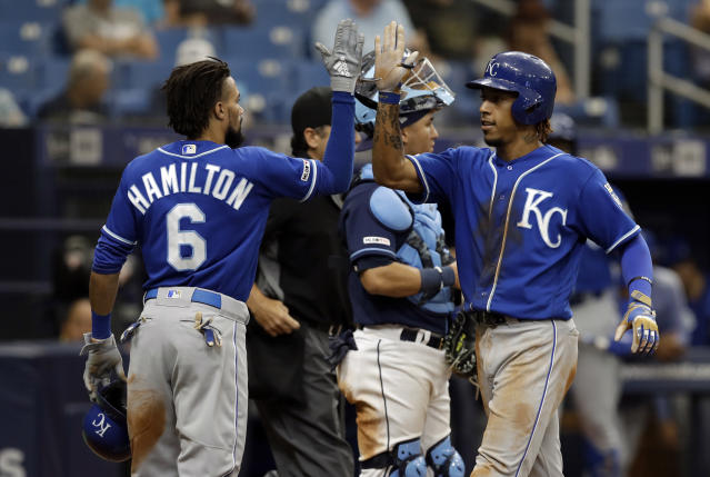 Kansas City Royals' Adalberto Mondesi, right, high fives Billy Hamilton after Mondesi hit a three-run home run off Tampa Bay Rays relief pitcher Ryan Yarbrough during the sixth inning of a baseball game Wednesday, April 24, 2019, in St. Petersburg, Fla. (AP Photo/Chris O'Meara)