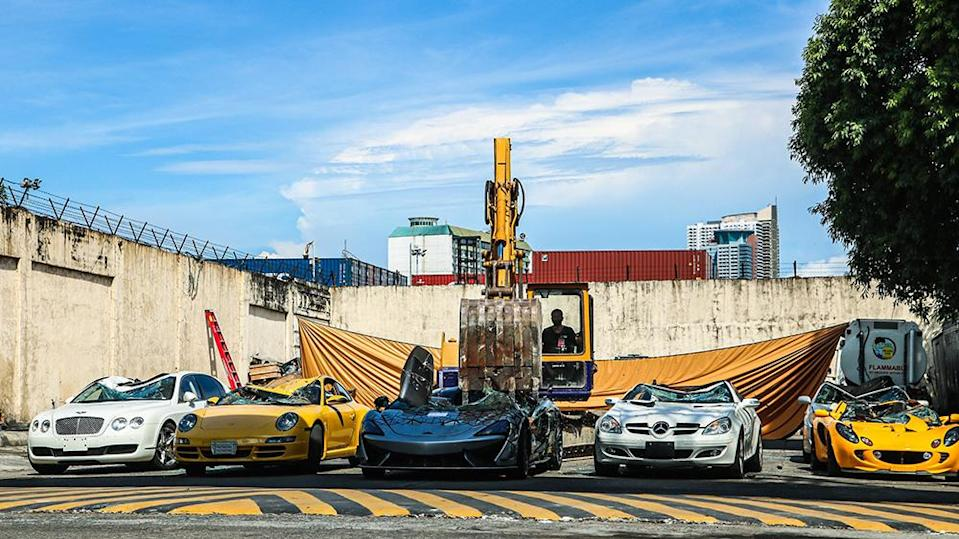 The cars after they were crushed - Credit: Bureau of Customs PH/Facebook