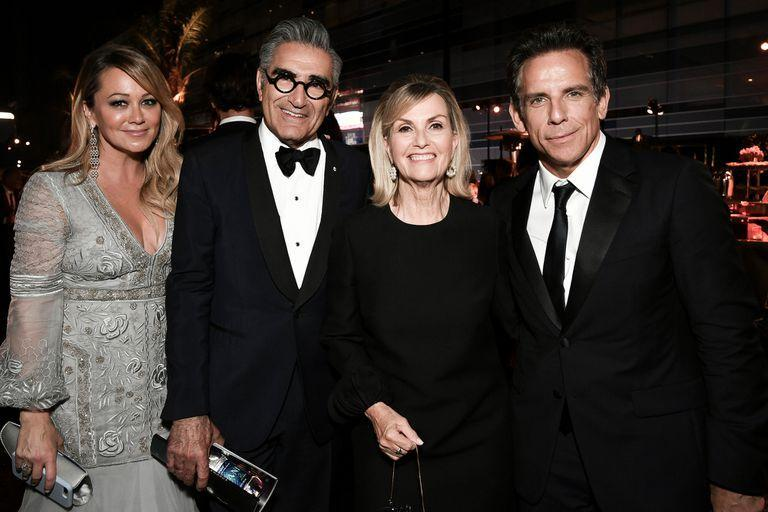 Christine Taylor, from left, Eugene Levy, Deborah Divine and Ben Stiller attend the 2019 Primetime Emmy Awards Governors Ball at the Microsoft Theater on Sunday, Sept. 22, 2019, in Los Angeles. (Photo by Richard Shotwell/Invision/AP)
