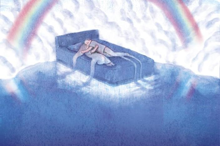 Woman and man embrace atop a bed surrounded by a rainbow and cloud.
