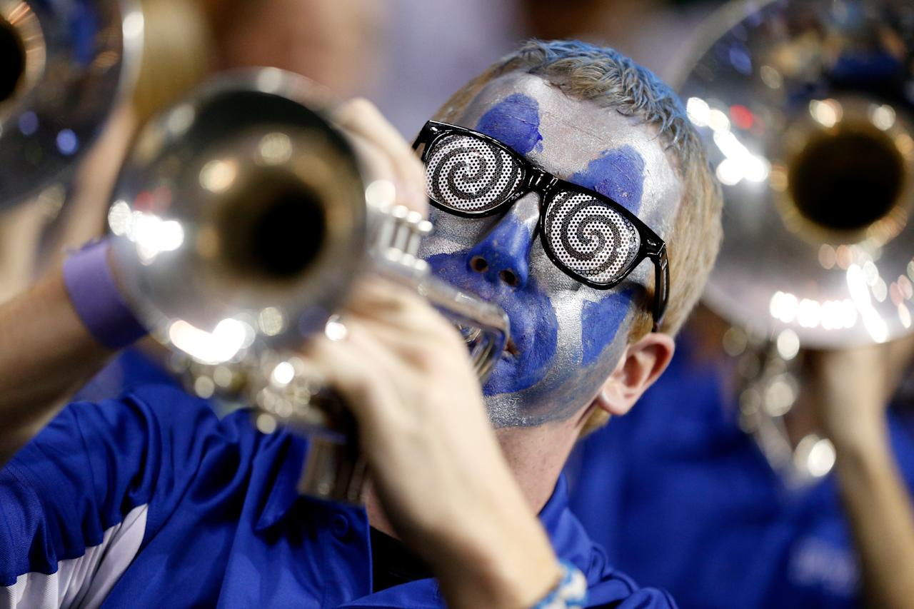 AUBURN HILLS, MI - MARCH 21:  A member of the band for the Memphis Tigers performs against the St. Mary's Gaels during the second round of the 2013 NCAA Men's Basketball Tournament at at The Palace of Auburn Hills on March 21, 2013 in Auburn Hills, Michigan.  (Photo by Gregory Shamus/Getty Images)