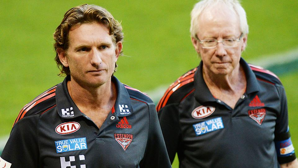 James Hird and Bruce Reid, pictured here during an Essendon game in 2013.