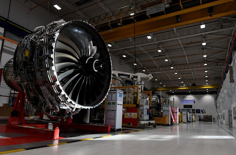 The Rolls Royce XWB engine assembly line at the Rolls-Royce's aero engine factory in Derby.