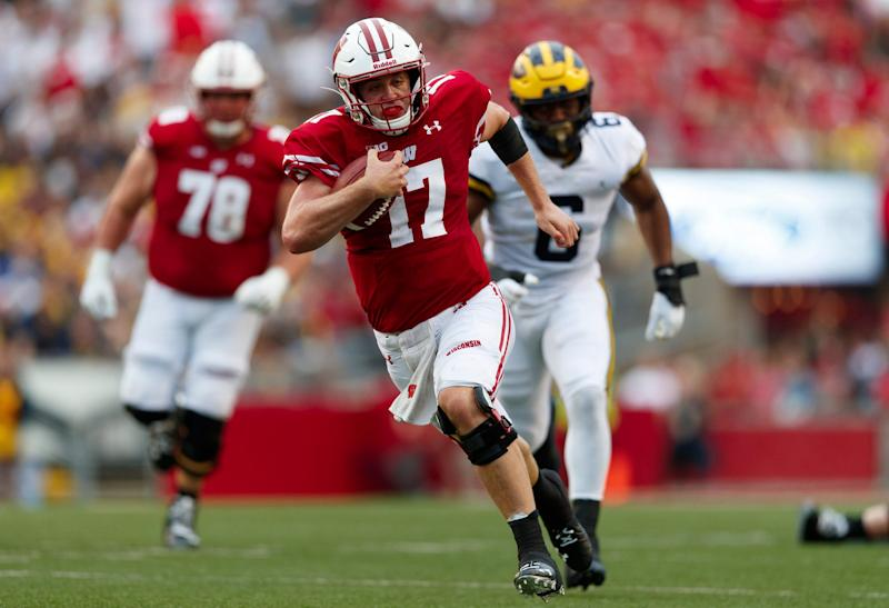 Jack Coan's foot injury may reshuffle the pecking order in the Big Ten West in 2020.