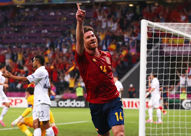 DONETSK, UKRAINE - JUNE 23: Xabi Alonso of Spain celebrates after scoring the first goal during the UEFA EURO 2012 quarter final match between Spain and France at Donbass Arena on June 23, 2012 in Donetsk, Ukraine. (Photo by Alex Livesey/Getty Images)