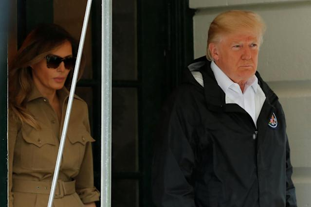 <p>President Donald Trump and first lady Melania Trump walk out from the White House in Washington before their departure to view storm damage in Texas, Sept. 2, 2017. (Photo: Yuri Gripas/Reuters) </p>