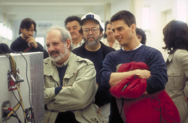Director Brian De Palma and actor Tom Cruise watching the rushes on the set of the film 'Mission: Impossible' in 1996. (Photo by Murray Close/Getty Images)