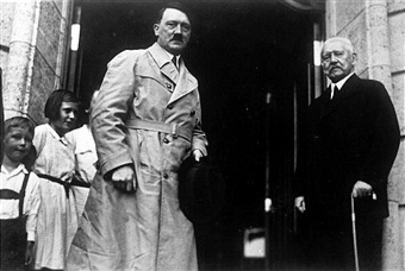 Neudeck, Germany, 3rd July, 1933, Nazi Chancellor Adolf Hitler stands with President Von Hindenburg after their meeting (Photo by Popperfoto/Getty Images)