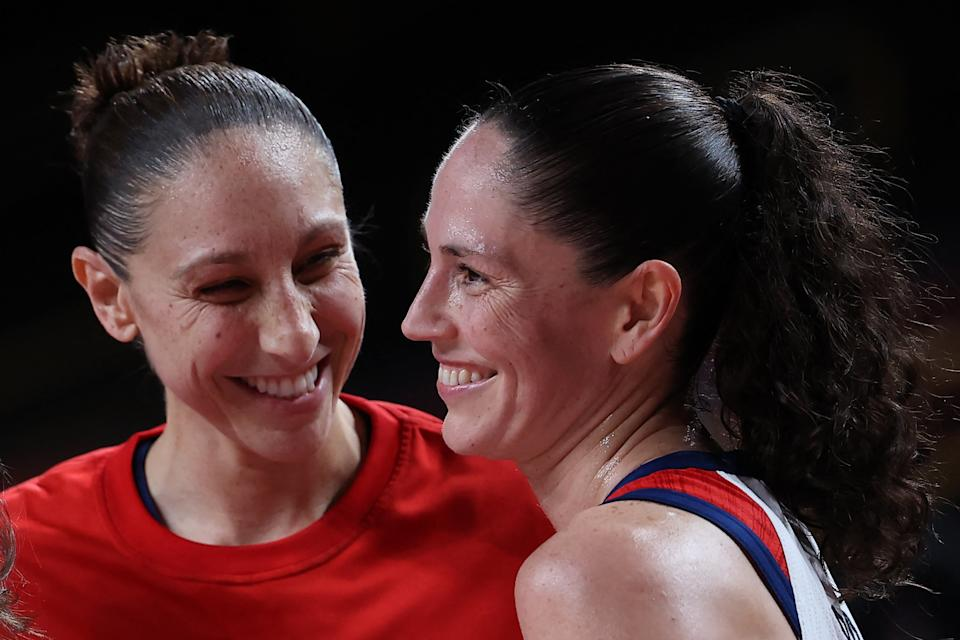 Diana Taurasi and Sue Bird have been winning titles and having fun together doing it for over 20 years now. (Photo by THOMAS COEX/AFP via Getty Images)
