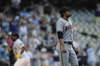 Arizona Diamondbacks' Joakim Soria, right, reacts after giving up a solo home run to Milwaukee Brewers' Omar Narvaez during the eighth inning of a baseball game Saturday, June 5, 2021, in Milwaukee. (AP Photo/Aaron Gash)