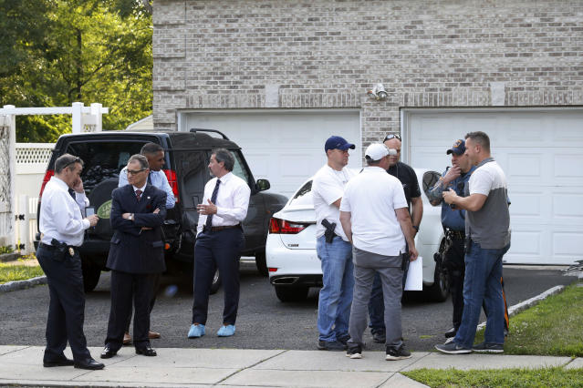 """Bergen County Prosecutors Office and Sheriff's Department investigate a body found in the home of Giants cornerback <a class=""""link rapid-noclick-resp"""" href=""""/nfl/players/25749/"""" data-ylk=""""slk:Janoris Jenkins"""">Janoris Jenkins</a> in Fair Lawn, N.J. Authorities have identified the dead man as Roosevelt Rene, a family friend of Jenkins. (AP)"""