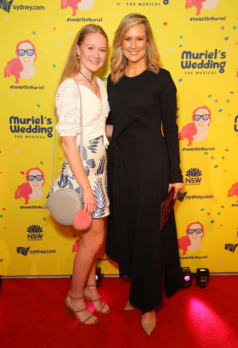 A photo of Melissa Doyle and daughter Natalie at the opening night of Muriel's Wedding The Musical in 2019.