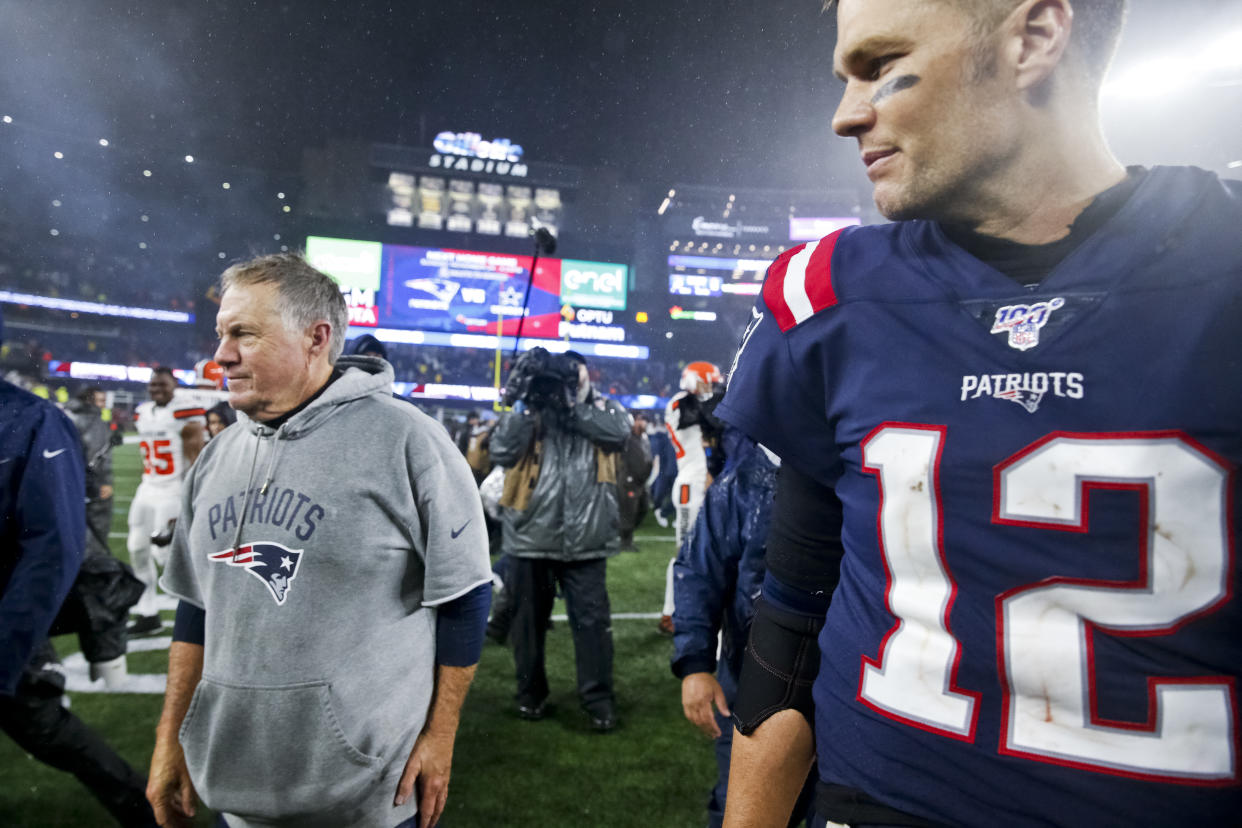 """New England Patriots head coach Bill Belichick said it was a """"a great relationship built on love"""" with quarterback Tom Brady. (Photo by Matthew J. Lee/The Boston Globe via Getty Images)"""