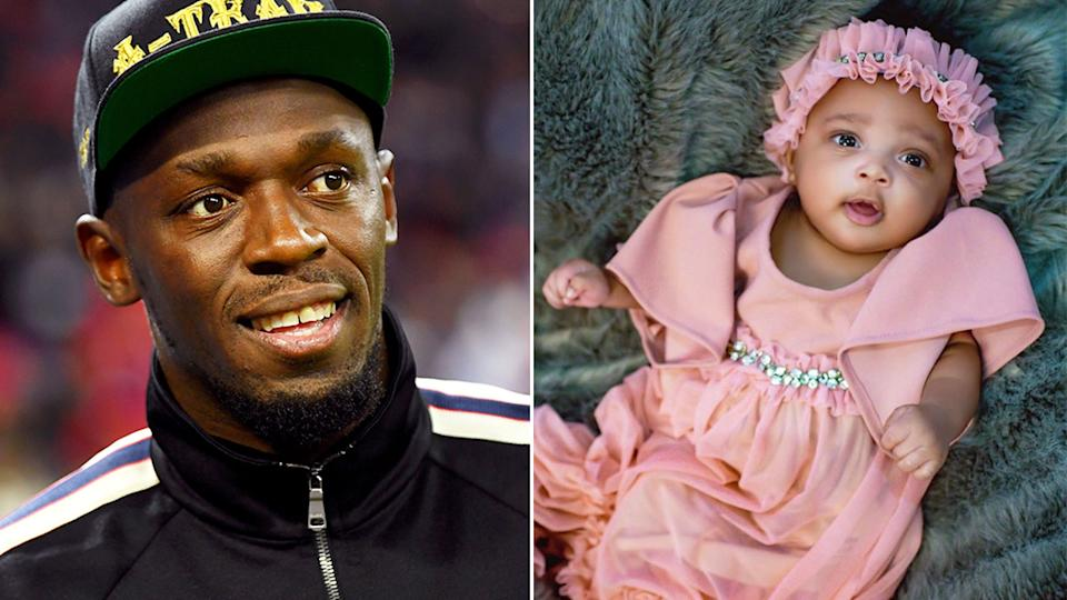 Pictured here, Usain Bolt and a picture of his baby girl, Olympia.