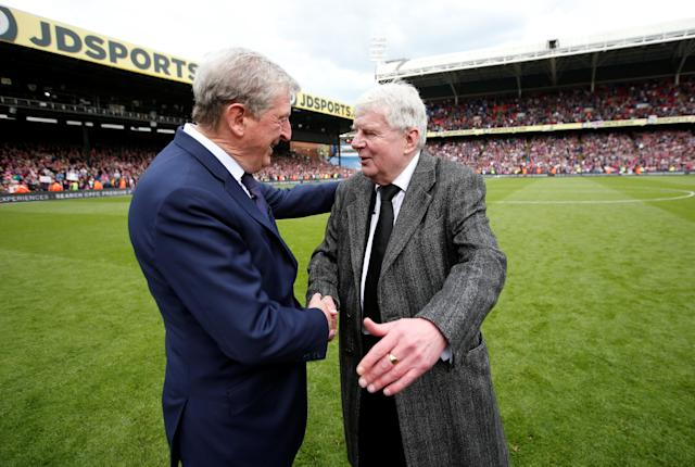 "Soccer Football - Premier League - Crystal Palace vs West Bromwich Albion - Selhurst Park, London, Britain - May 13, 2018 Crystal Palace manager Roy Hodgson shakes hands with Commentator John Motson after the match Action Images via Reuters/Matthew Childs EDITORIAL USE ONLY. No use with unauthorized audio, video, data, fixture lists, club/league logos or ""live"" services. Online in-match use limited to 75 images, no video emulation. No use in betting, games or single club/league/player publications. Please contact your account representative for further details."