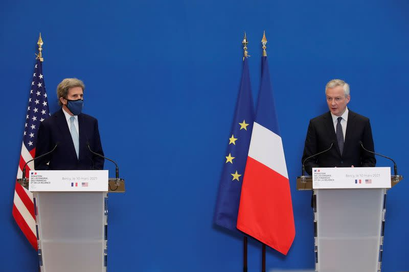 French Economy and Finance Minister Le Maire meets US Special Presidential Envoy for Climate Kerry in Paris