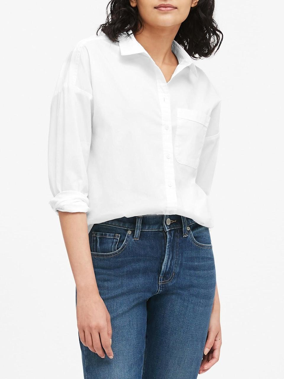 <p>She's the one who taught you the appreciation for the basics. We know she'll love this <span>Banana Republic Oversized Poplin Shirt</span> ($39, originally $80). It's the perfect classic white button down, with a twist.</p>