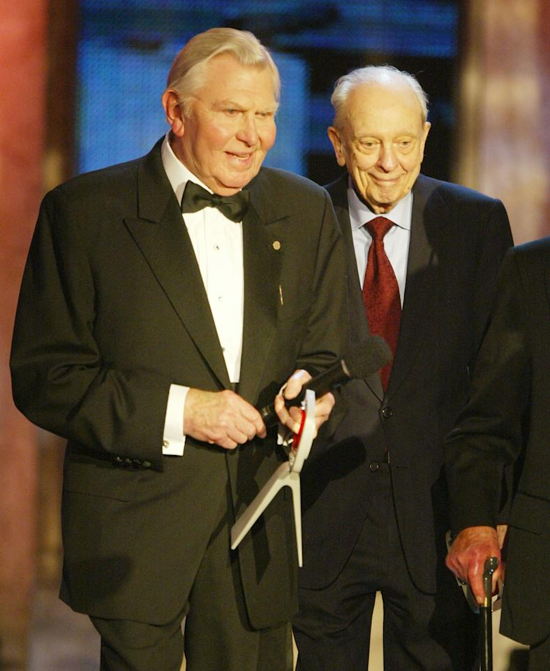 HOLLYWOOD, CA - MARCH 7: Actors Andy Griffith (left) and Don Knotts speak on stage at the 2nd Annual TV Land Awards held on March 7, 2004 at The Hollywood Palladium, in Hollywood, California. (Photo by Kevin Winter/Getty Images)