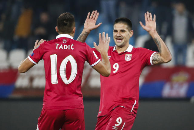 Aleksandar Mitrovic and Dusan Tadic will be key figures for Serbia's attack at the 2018 World Cup. (Getty)