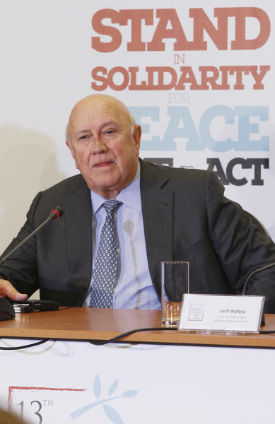 Former President of the Republic of South Africa, Frederik de Klerk says Africa should be given due place on the international arena during a news conference in Warsaw, Poland, Sunday, Oct. 20, 2013, on the eve of a three-day meeting of Nobel Peace Prize laureates. (AP Photo/Czarek Sokolowski)
