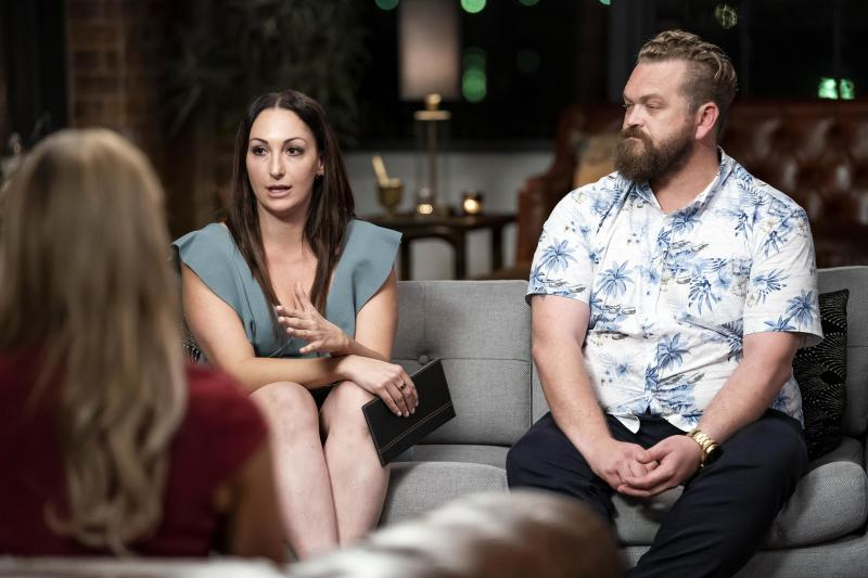 Luke and Poppy from Married At First Sight on the experts' couch